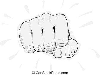 eps8, eenvoudig, -, achtergrond, vector, fist, witte , tekening