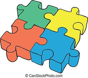 eps8, puzzle, -, illustrazione, vettore, fondo, bianco