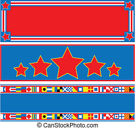 EPS8 Vector 3 Red White Blue Banner