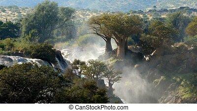 Epupa Falls on the Kunene River in Namibia - Epupa Falls on...