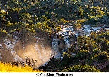 epupa, fluß, namibia, kunene, fällt
