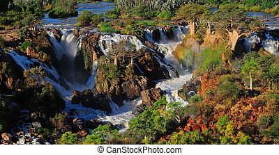 epupa, wasserfall, namibia, panorama