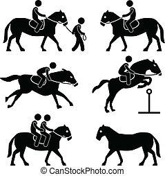 eqüestre, montando, jóquei, cavalo