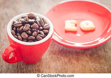 eq, アルファベット, ビスケット, ∥で∥, 赤, コーヒーカップ