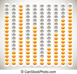 Eq, Equalizer Element with Yellow and Gray Colors. Editable Vector Graphics Eq, Equalizer Element with Yellow and Gray Colors. Editable Vector Graphics