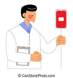 eqipment, sangre, clínica, doctor, verificar, donantes, dar