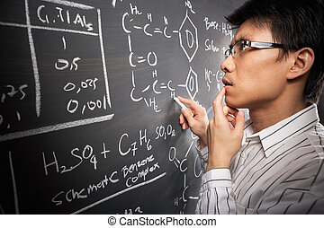 equação, estudante masculino, trabalhando
