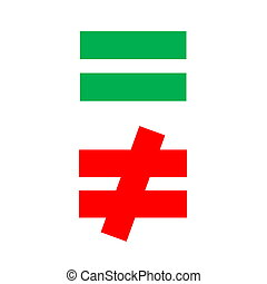 equal green and red - mathematical equal and difference...