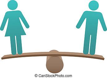 Equal male female sex equality balance - Equal man and woman...