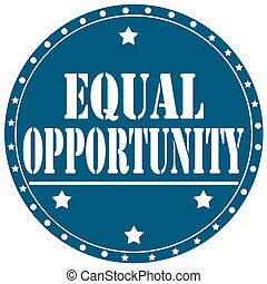 Equal Opportunity-label - Blue label with text Equal ...
