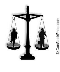 Equal Opportunity - Male and female business people on scale...