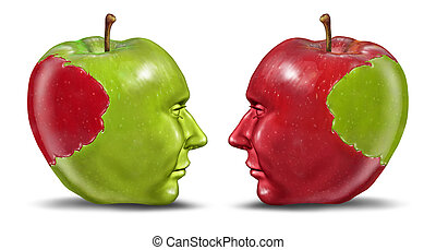 Equal partners and business relationship concept with a green and red apple in the shape of a human head with a bite tranplanted from one partner to the other as a symbol of cooperation and exchange of ideas.