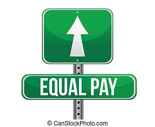 equal pay road sign illustration