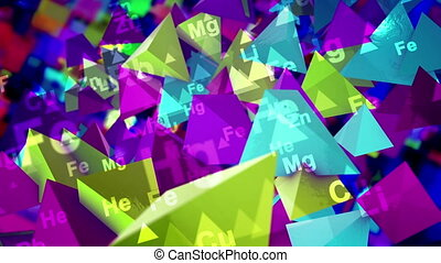 """3d rendering of colorful pyramids with the signs of chemical elements turning down in the black background. They create the spirit of cheerfulness and scientific inspiration in seamless loop."""