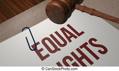 Equal Rights legal concept shot clip