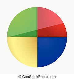 Equal Section Pie Chart Vector Illustration Design