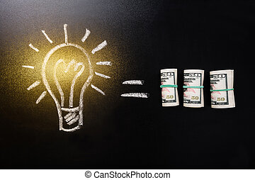 Equal Sign Between Light Bulb And Currency Note