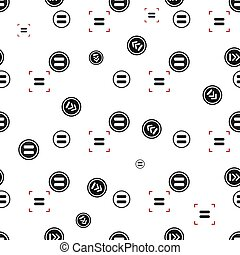 Equal sign seamless pattern, isolated on white background. Vector illustration, easy to edit.