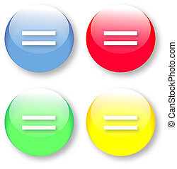 Equal vector sign set - Vector set of equal icons on glassy...