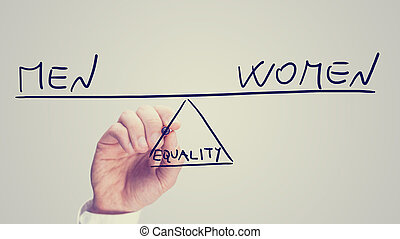 Equality between men and women, a conceptual image of the...