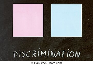 equality - blue and pink paper in a blackboard
