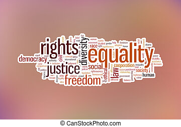 Equality concept word cloud background on blue blurred backgroun