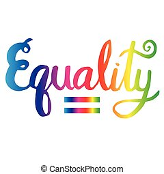 Illustration of hand writing the word equality