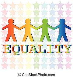 Equality - Illustration of man holding hand standing for...