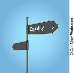 Equality nearby, dark grey road sign concept on blue...