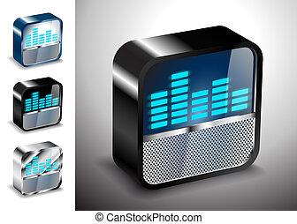 equalizador, ícones, botão, vetorial, rádio, 3d