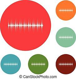 equalizador, jogo, ícones, vetorial, digital, círculo