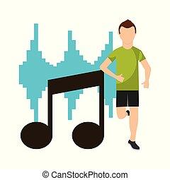 equalizador, nota, executando, frente, desporto, musical, homem