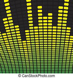 equalizador, verde, música, fundo, amarela