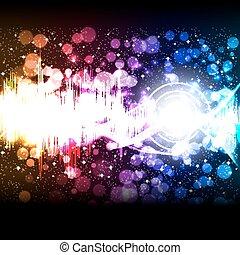 equalizador, vetorial, música, onda