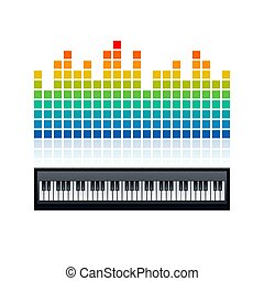 Equalizer and piano keyboard, vector illustration
