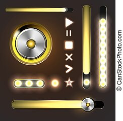 Equalizer and player metal buttons with track bar