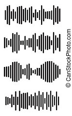 Equalizer charts icon set. Music signal frequency silhouette collection. Abstract waves diagram. Sound beat display graph border isolated on white. Illustration of wave amplifier control.