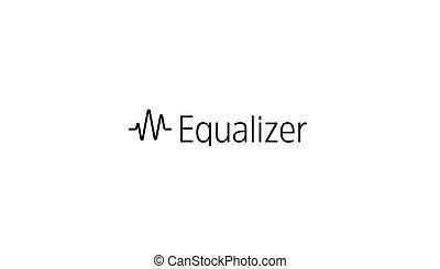 equalizer, concept, hart, golf, moderne, ontwerp, leeg, logo, template., eenvoudig, medical., vrijstaand, achtergrond., embleem, illustratie, golf, impuls, geluid, kunst, idea., vector, muziek, icon., of, radio