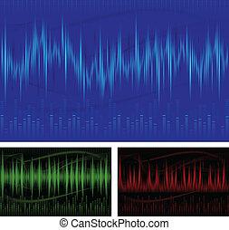 Graphic equalizer display, sound waves, music background, vector illustration
