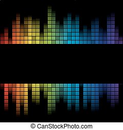 equalizer frame with colorful lines isolated on black...