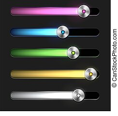 Equalizer glossy glowing track bar. Vector media player...