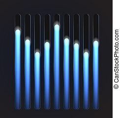 Equalizer glossy glowing track bar