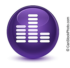 Equalizer icon glassy purple round button