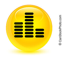 Equalizer icon glassy yellow round button