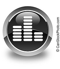 Equalizer icon glossy black round button