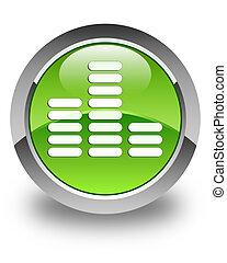 Equalizer icon glossy green round button