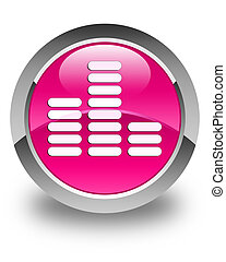 Equalizer icon glossy pink round button