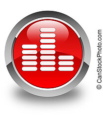 Equalizer icon glossy red round button