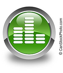 Equalizer icon glossy soft green round button