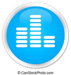 Equalizer icon premium cyan blue round button